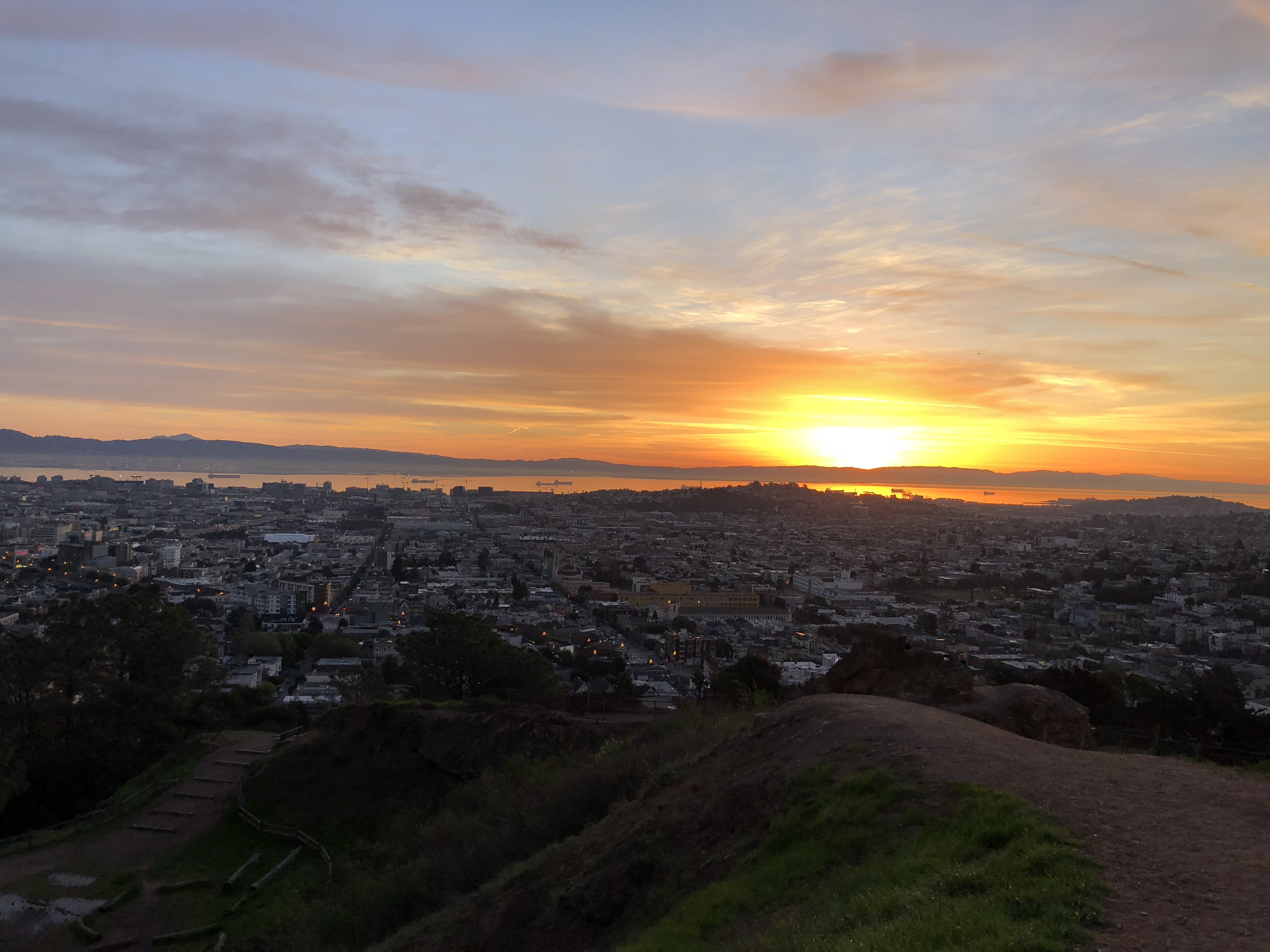 a sunrise from Corona Heights Park