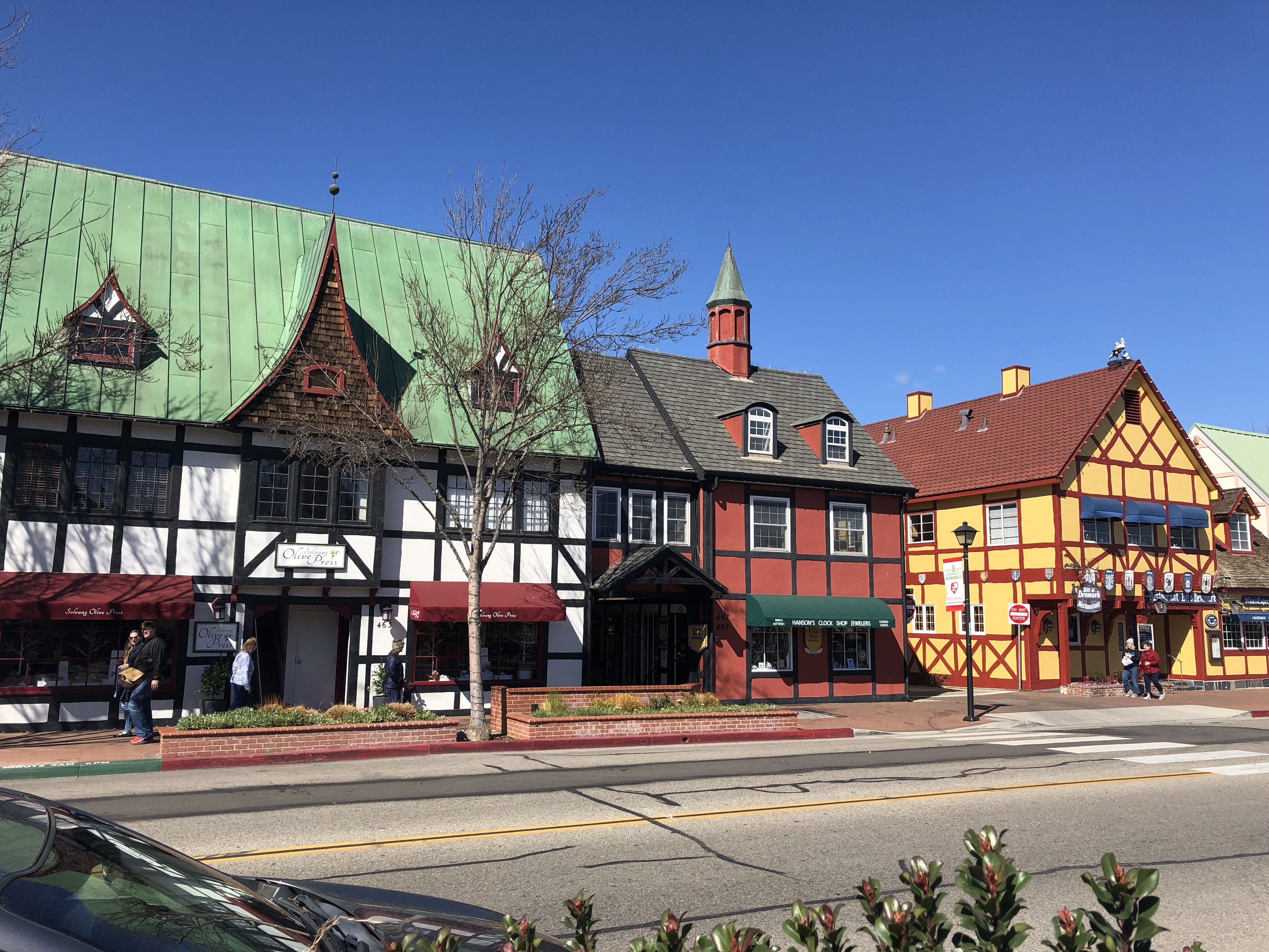 Colorful buildings on a street in Solvang