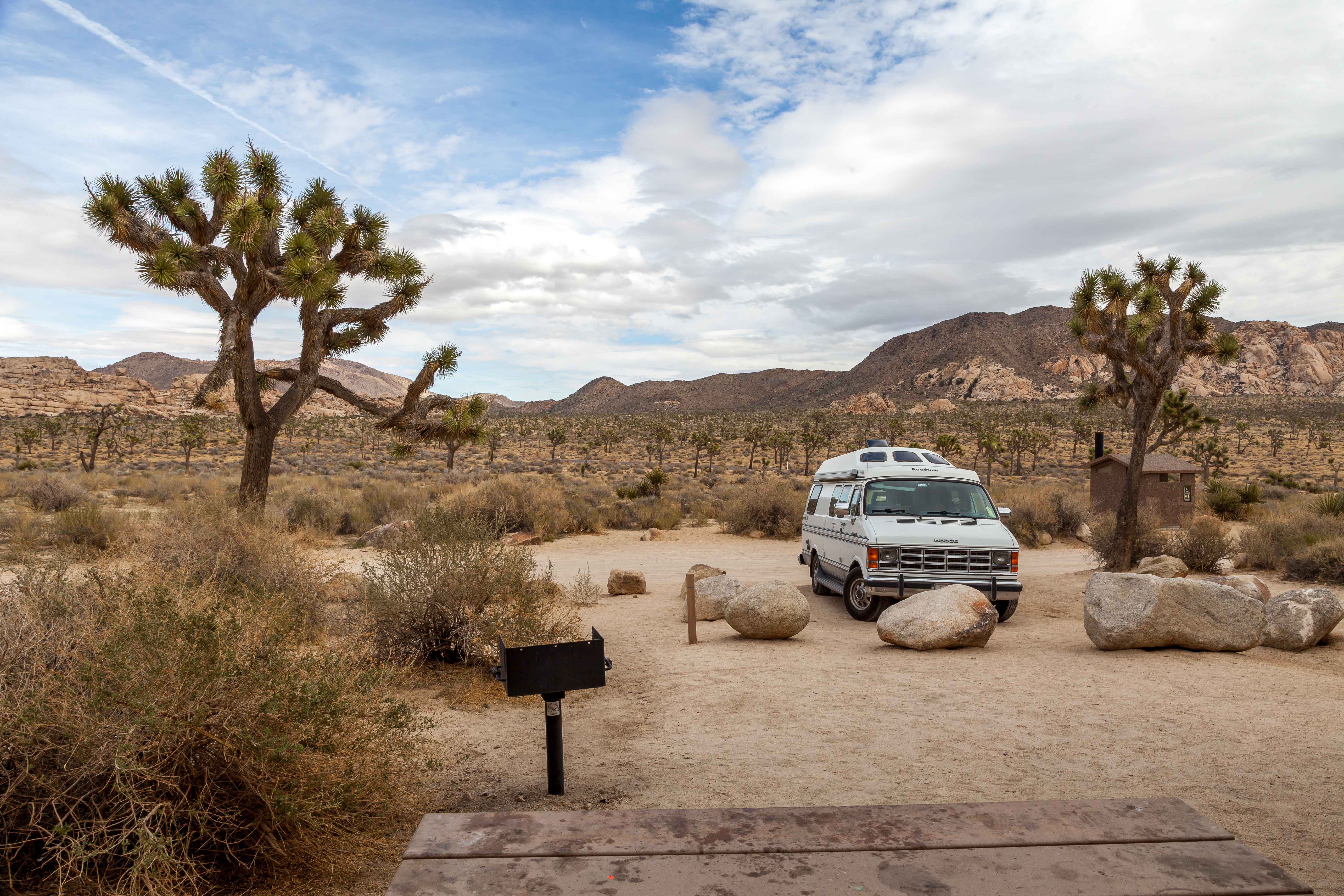 my van at campsite 40 at Hidden Valley Campground in Joshua Tree National Park