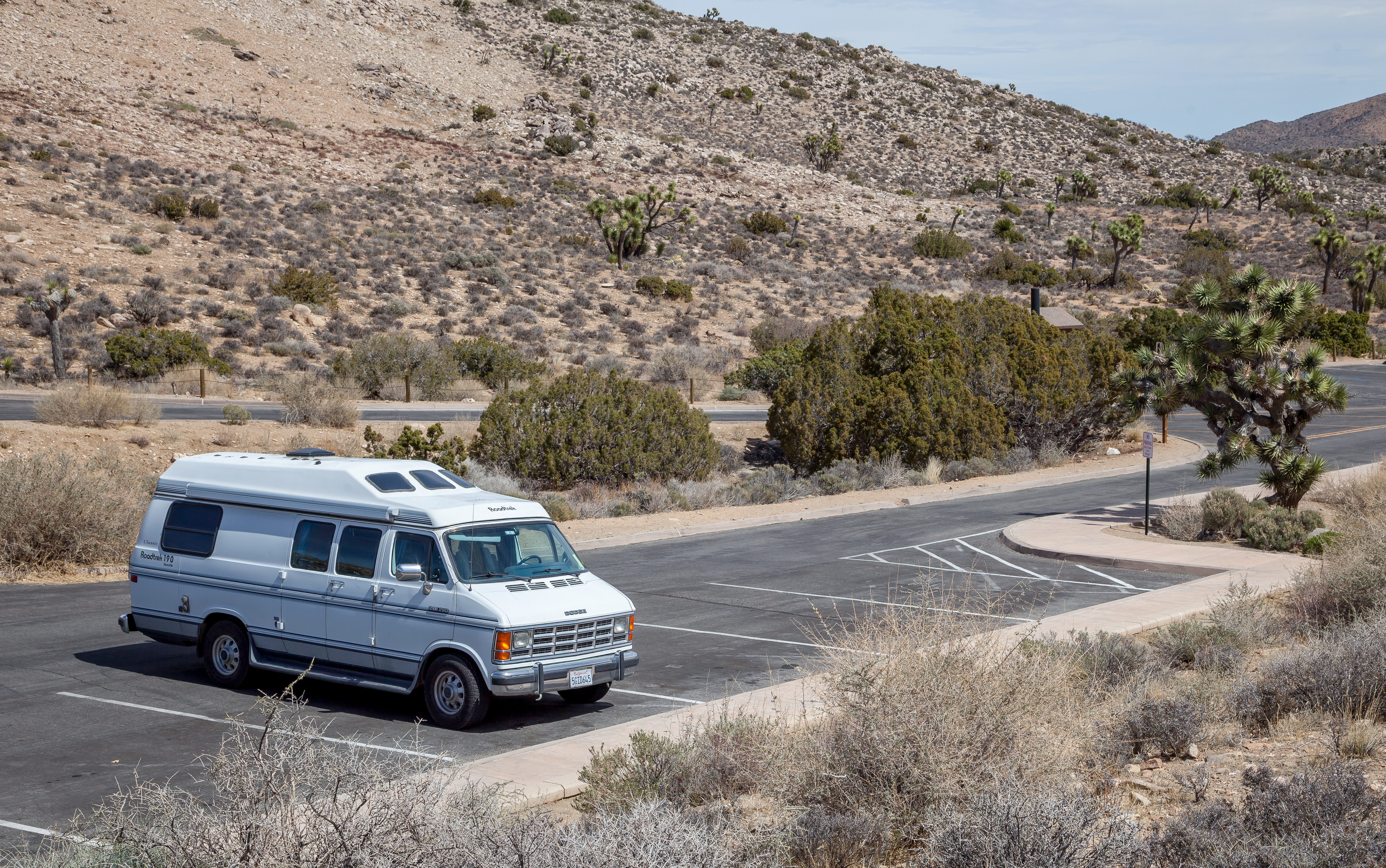 my van in a parking lot in Joshua Tree National Park
