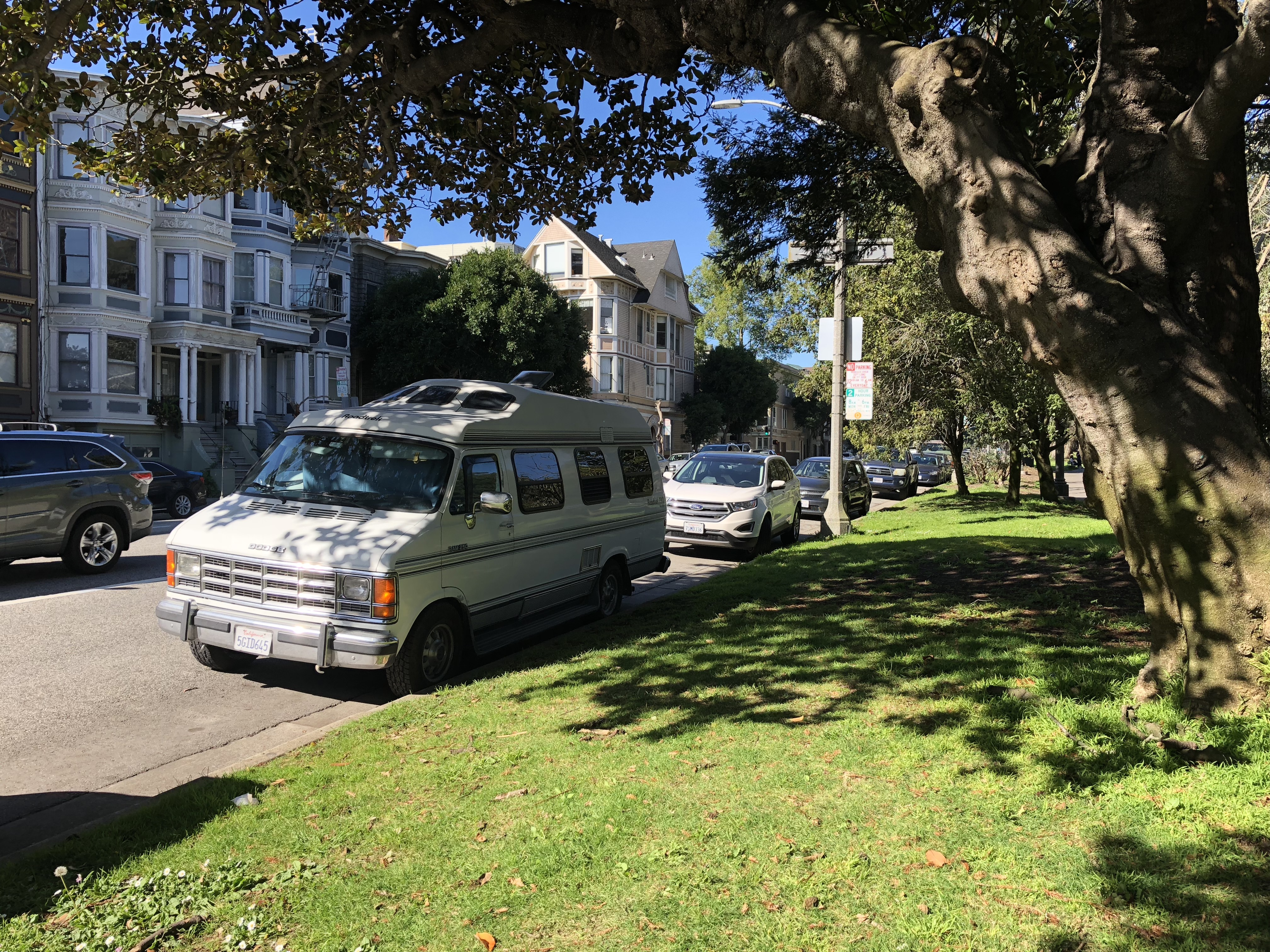 my Roadtrek parked on the Panhandle in San Francisco