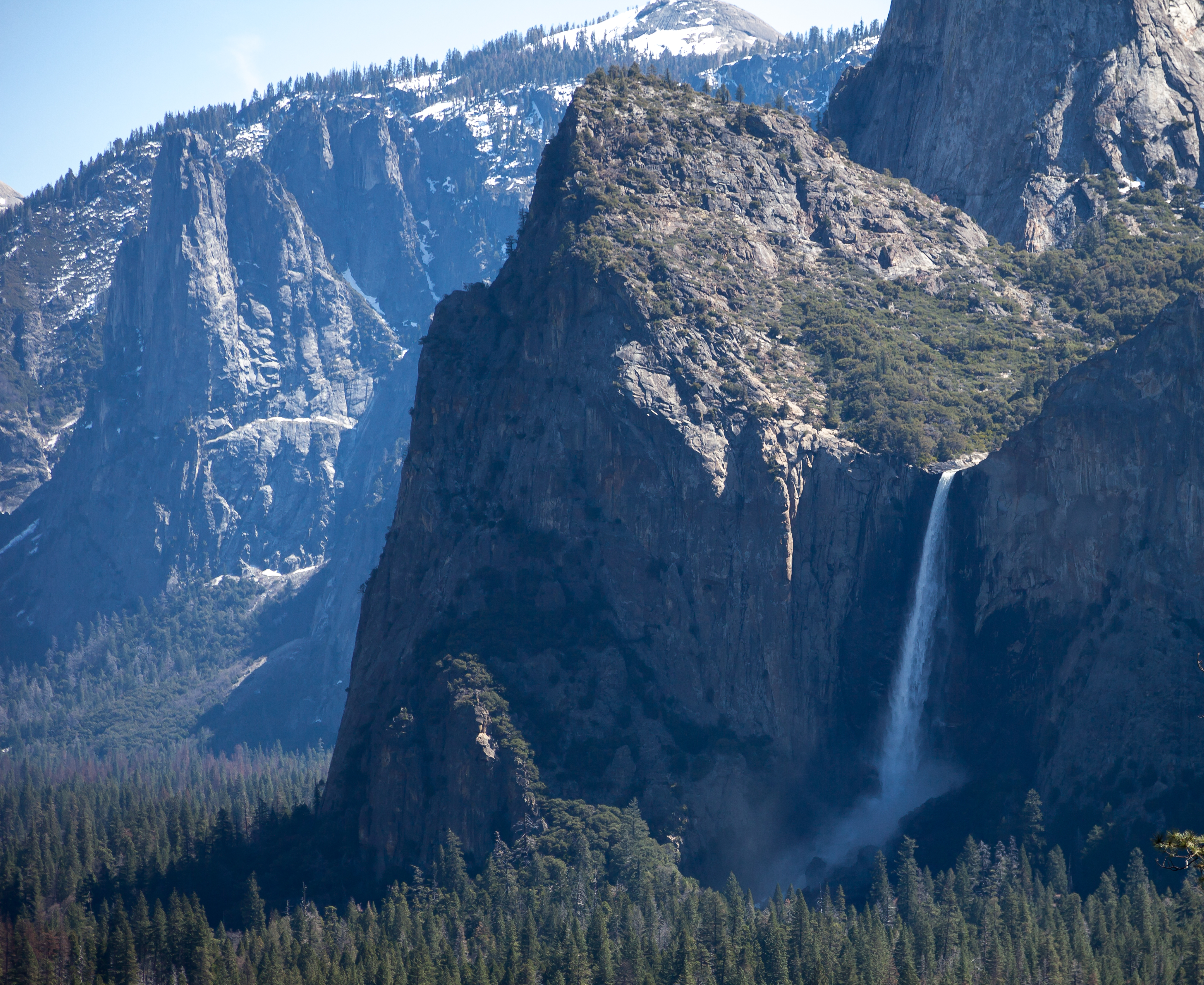 a view of Bridalveil Fall from a distance