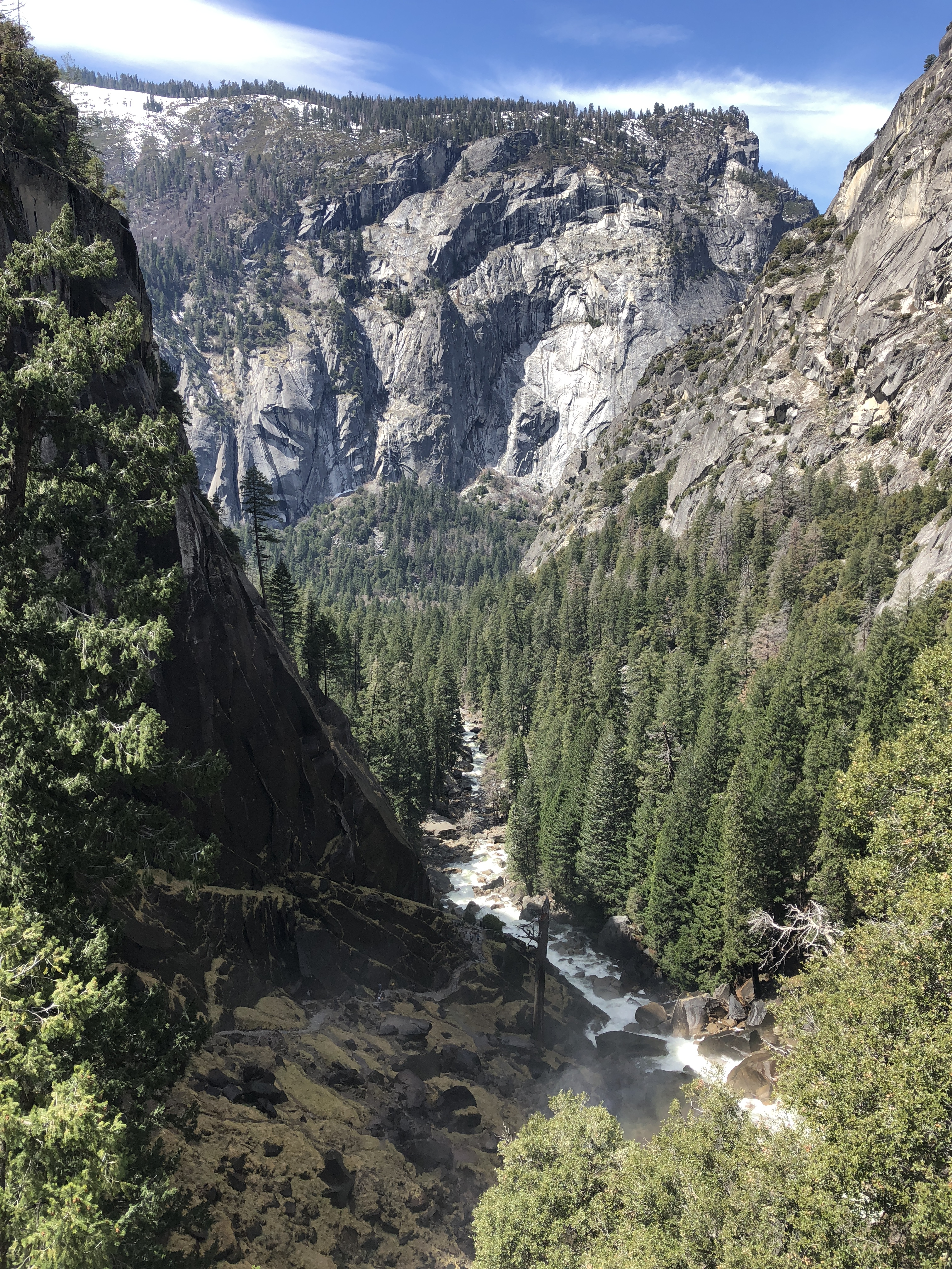 looking back on the Mist Trail in Yosemite National Park