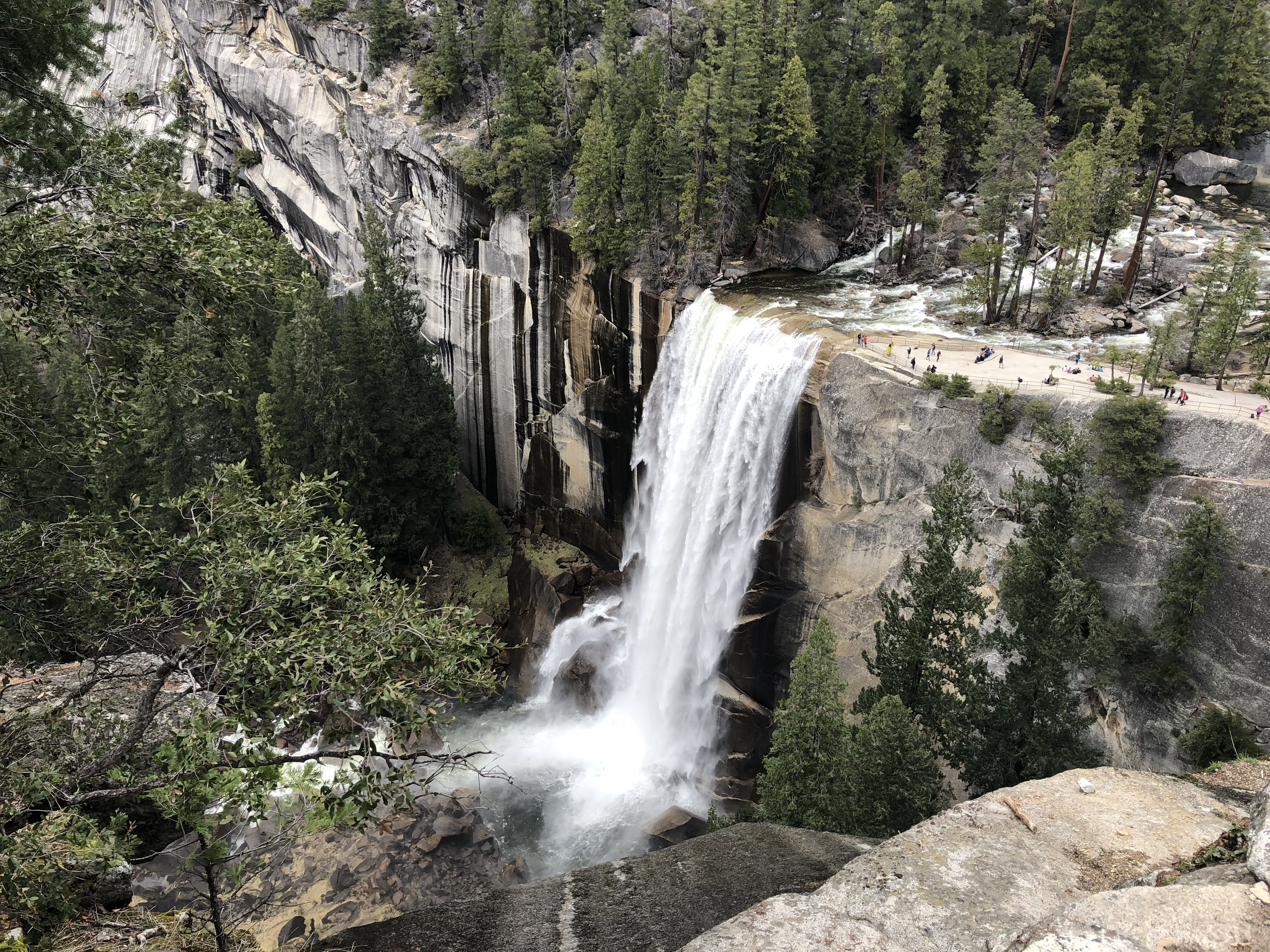 a view of the top of Vernal Fall from near the John Muir Trail
